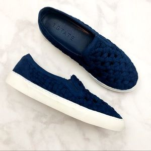 1. State Shoes - Blue Braided Slip On Sneakers